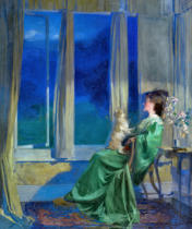 Frank Bramley - When the blue evening slowly falls