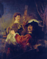 Harmensz van Rijn Rembrandt - Selfportrait with his wife Saskia as the prodigal son