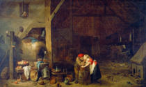 David Teniers - The old man and the maidservant,1650 Woo