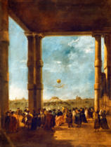 Francesco Guardi - The Balloon Take off of Count Zambeccari