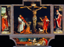 Mathis Gothart Grünewald - Isenheim Altarpiece, closed, 1st position: Saints Sebastian and Anthony
