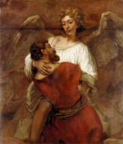 Harmensz van Rijn Rembrandt - Jacob's Battle with the Angel