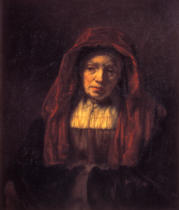 Harmensz van Rijn Rembrandt - Old woman with head scarf