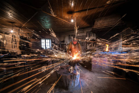 The blacksmith of artist Radu Dumitrescu as framed image