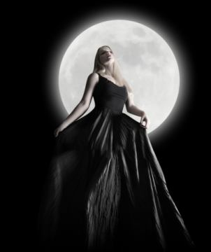 Dark Night Moon Girl with Black Dress von Künstler Angela Waye als gerahmtes Bild