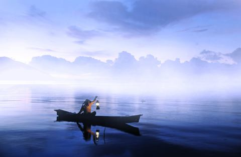 Lonely Fisherman of artist Cie Shin as framed image