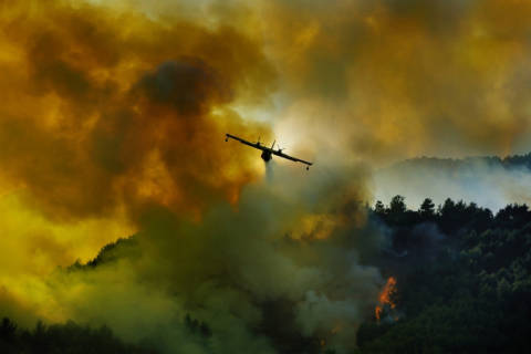 Foto-Kunstdruck: Antonio Grambone, Canadair aircraft in action - fighting for the salvation of the forest.