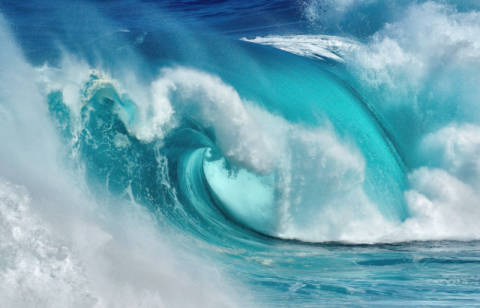 When the ocean turns into blue fire von Künstler Daniel Montero als gerahmtes Bild