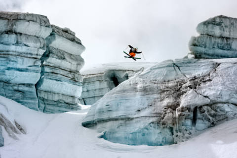 Candide Thovex out of nowhere into nowhere of artist Tristan Shu as framed image