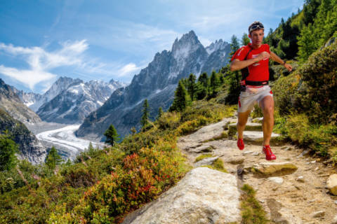 Photo Print: Tristan Shu, Kilian Jornet training above Montenvers