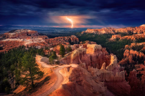 Photo Print: Stefan Mitterwallner, Lightning over Bryce Canyon
