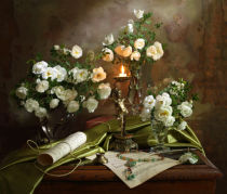 Andrey Morozov - Still life with roses and candle