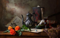 Andrey Morozov - Still life with teapot and roses