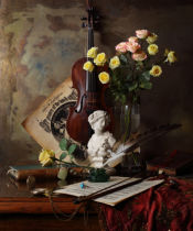 Andrey Morozov - Still life with violin and bust
