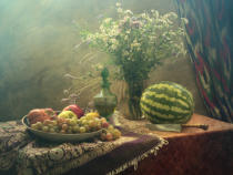 UstinaGreen - Still Life With Watermelon and Fruit
