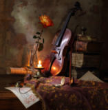 Andrey Morozov - Still life with violin and rose