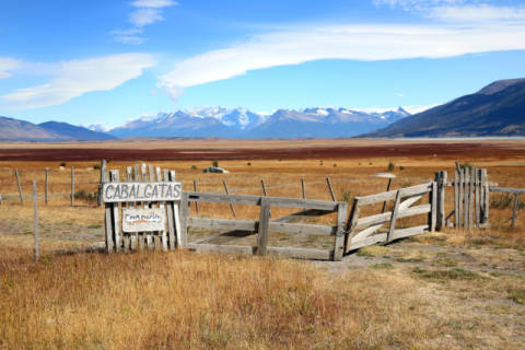 Overview of South Patagonia farmland of artist Fabrice Michaudeau as framed image