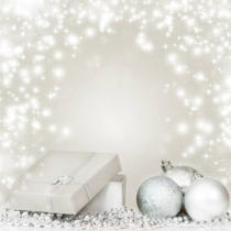 Erika Eros - Silver Christmas background with Christmas balls