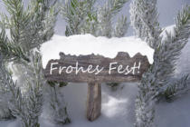 Nadja Blume - Sign Snow Fir Tree Frohes Fest Means Merry Christmas
