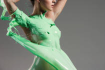 Volodymyr Melnyk - The beautiful woman with green liquid paint over her body