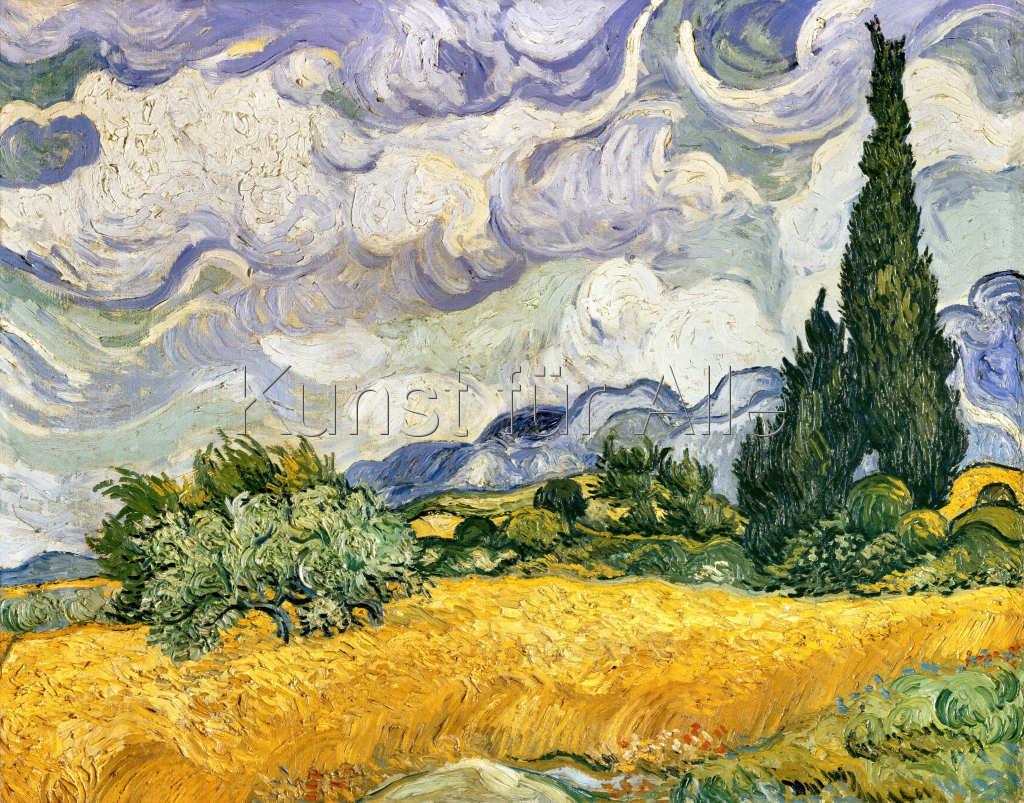 Vincent van Gogh - Weizenfeld mit Zypressen - digitaler Kunstdruck ...